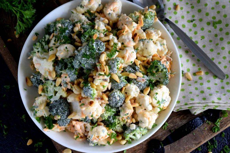 Chopped Broccoli and Cauliflower Salad