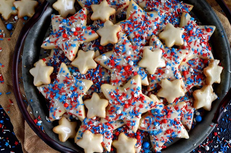Patriotic Glazed Shortbread Cookies