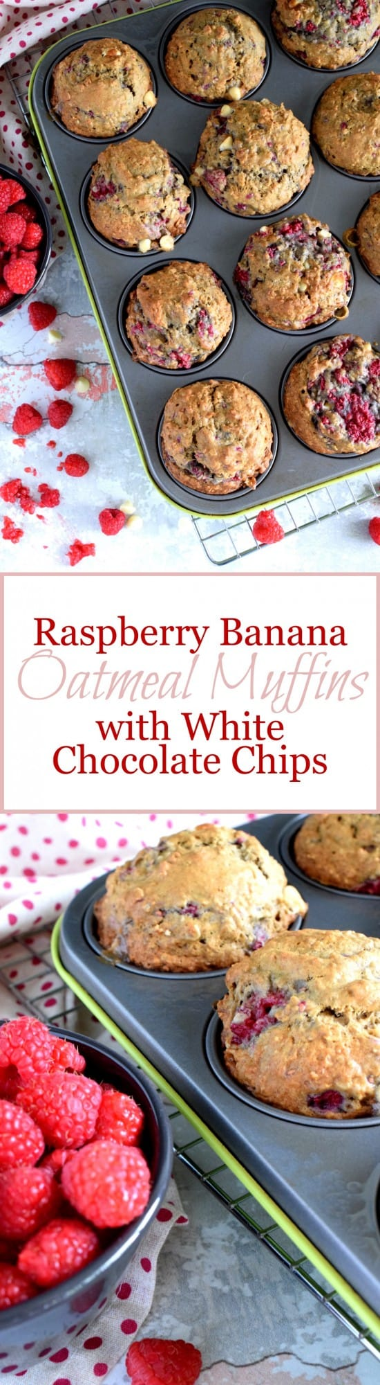 Raspberry Banana Oatmeal Muffins with White Chocolate Chips