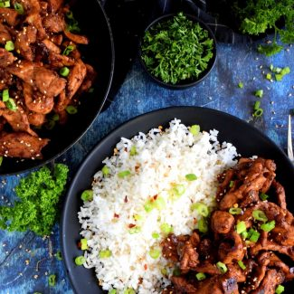 Quick Fry Marinated Pork With Rice