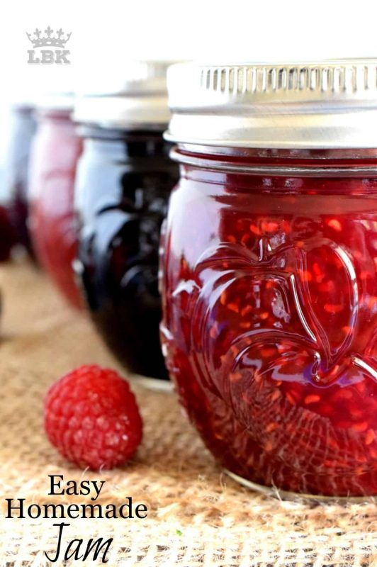 Whether you are preparing a large or small batch, my Easy Homemade Jam recipe is for you!  Three ingredients and no water canning method needed to keep your pantry stocked with jam all year round!#homemade #jam #small #batch #canning #easy