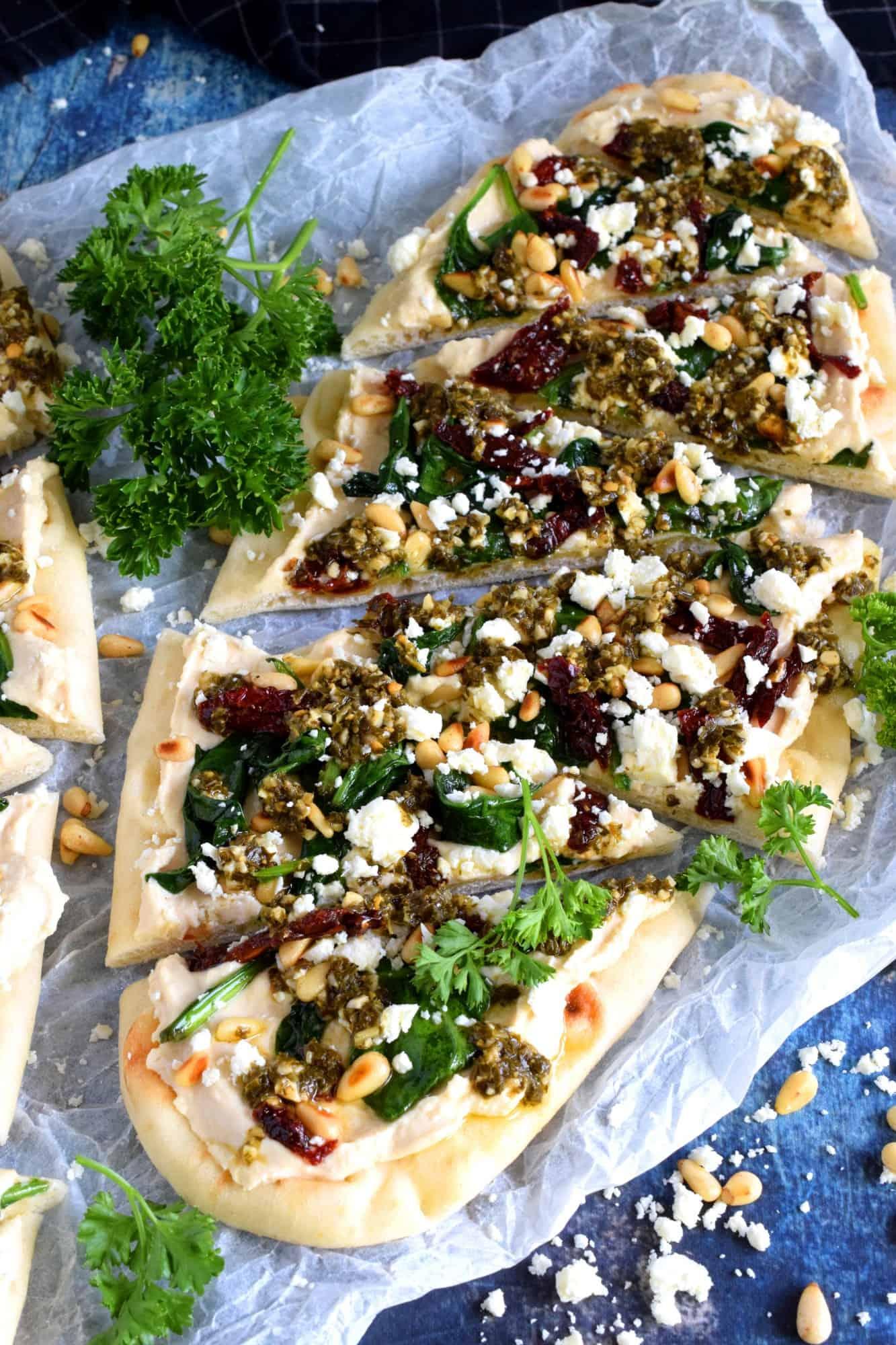 Hummus And Pesto Flatbread Appetizer