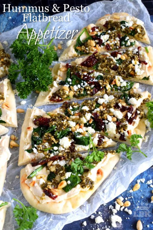 Hummus and Pesto Flatbread Appetizer
