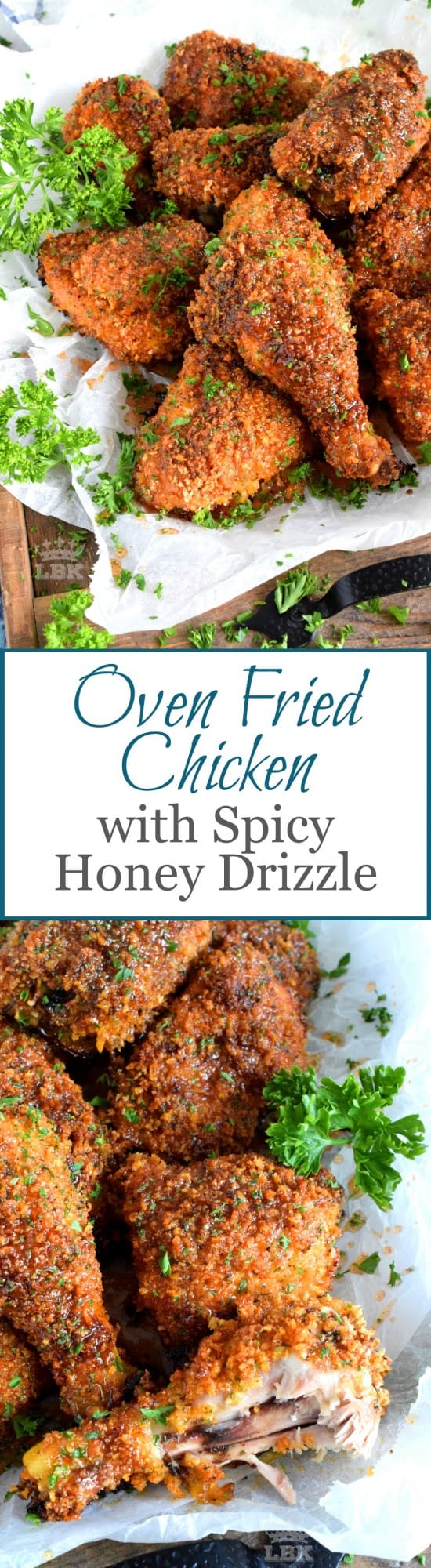 Oven Fried Chicken with Spicy Honey Drizzle