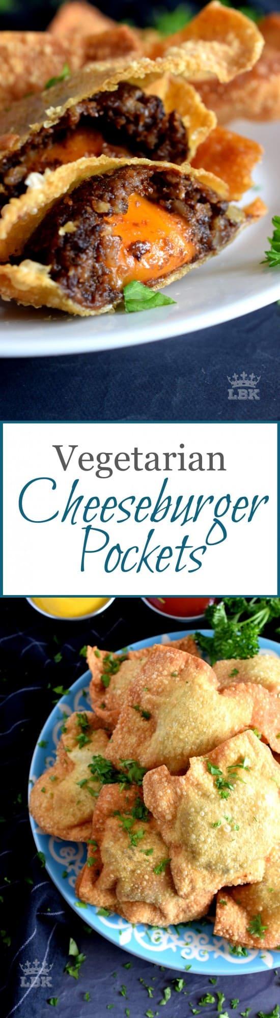 Fried Vegetarian Cheeseburger Pockets