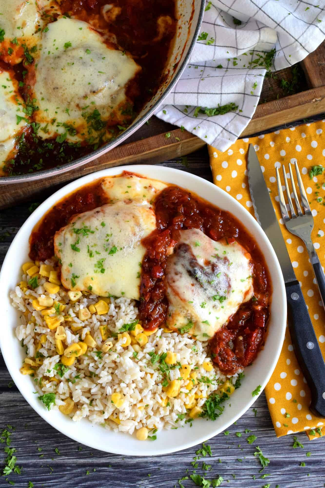 Cheesy Baked Chicken In Stewed Tomato Sauce