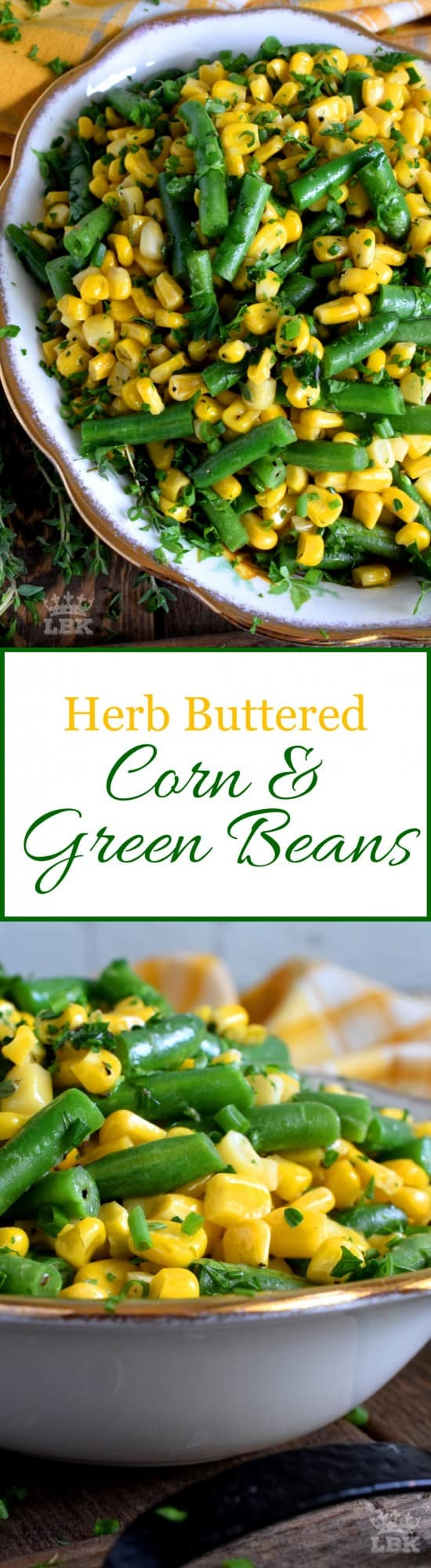 Herb Buttered Corn and Green Beans