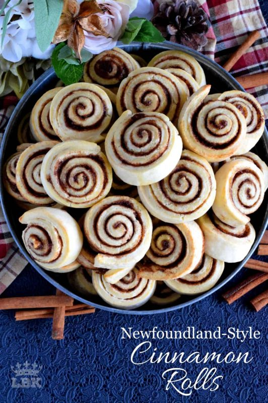 Made without yeast, Newfoundland Style Cinnamon Rolls are less like bread and more like a biscuit. No icing needed here; perfection doesn't need to be dressed up! #Newfoundland #recipes #cinnamon #rolls #traditional