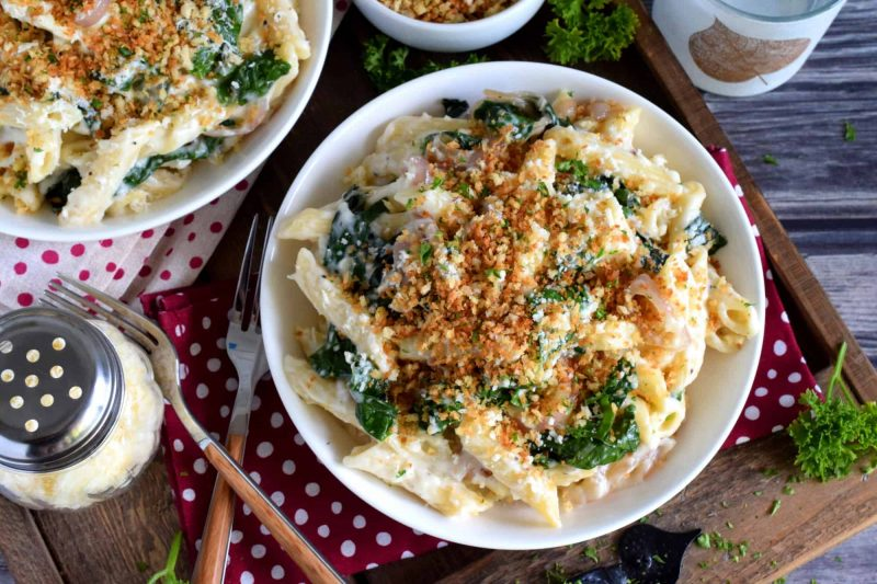 Creamy Pasta with Shallots and Swiss Chard