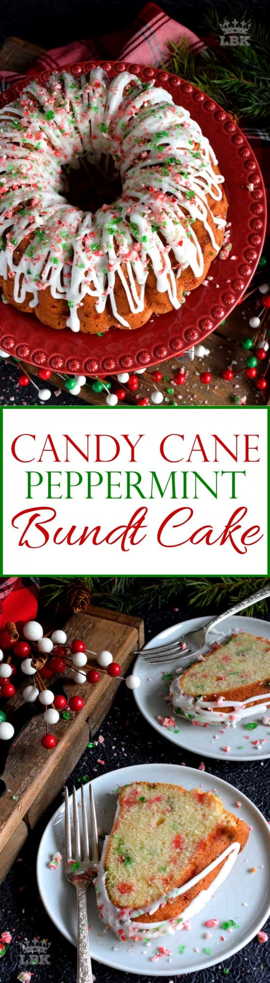 Candy Cane Peppermint Bundt Cake - Peppermint is a dominant Christmastime flavour, so this candy cane bundt cake has a lot of it, and it's glazed too! Use crushed candy canes as garnish! #peppermint #candycane #bundt #cake #bundtbakers #christmas #holiday