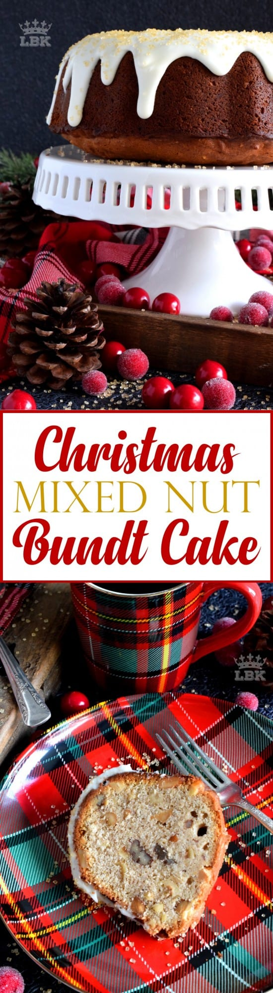 Christmas Mixed Nut Bundt Cake - Mixed nuts were always a popular snack item at Christmastime in our home, which is why this bundt cake is nostalgic and delicious! #mixed #nuts #bundt #cake #bundtbakers #christmas #holiday #baking