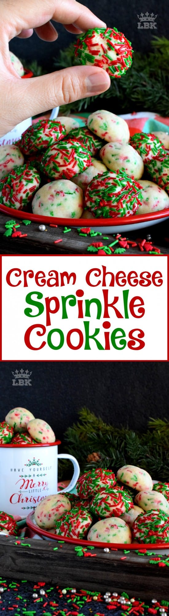 Cream Cheese Sprinkle Cookies - Who doesn't love cheerful and festive Christmas cookies with lots of sprinkles? Made with cream cheese, these taste as great as they look! #sprinkles #cookies #baking #christmas #holiday #balls