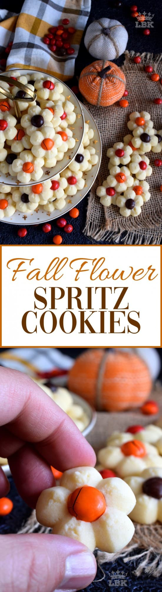 Fall Flower Spritz Cookies - With the help of M&M candy and a cookie press, these spritz cookies look very much like a fall flower arrangement when piled high onto a serving plate.#thanksgiving #fall #cookies #press #spritz #M&Ms