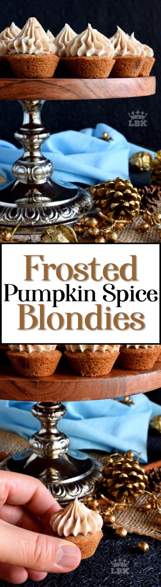 Frosted Pumpkin Spice Blondies - Perfectly portion sized, these frosted two-bite blondies are loaded with pumpkin spice flavour both on the inside and outside, and they're pretty too!#blondies #pumpkinspice #pumpkin #frosted