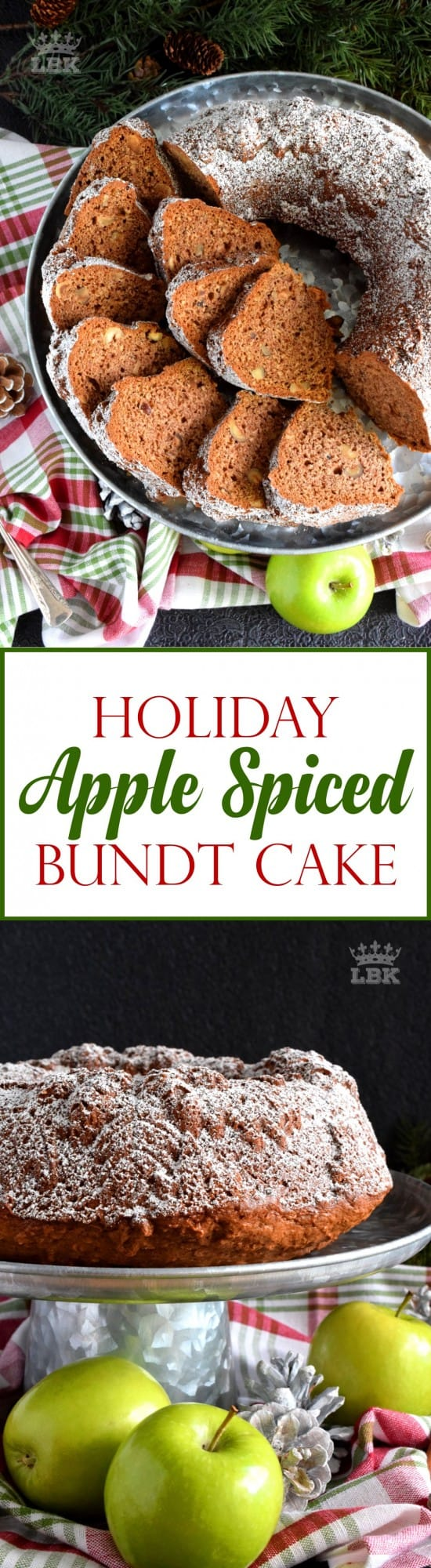 Holiday Apple Spiced Bundt Cake - Chopped apples and pecans, combined with holiday spices, make this bundt cake a perfectly rich and moist Christmastime dessert! #bundt #bundtbakers #cake #apple #spiced #christmas #holiday