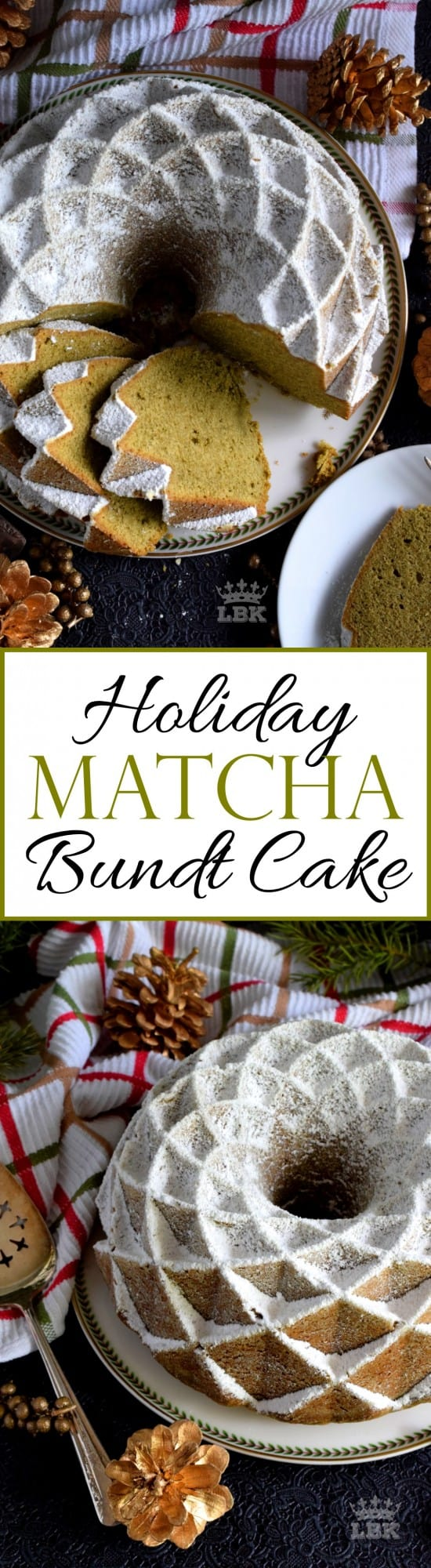 Holiday Matcha Bundt Cake - This bundt is green for the holidays! If you've never baked a cake with matcha, you must do it immediately! It's one of my favourites! #matcha #cake #bundt #bundtbakers #christmas #holiday #green