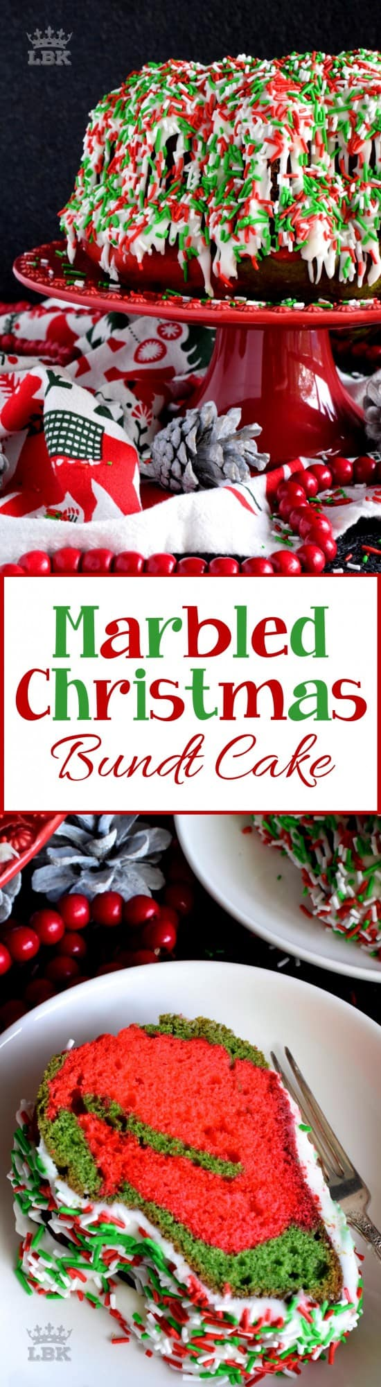 Marbled Christmas Bundt Cake - Kids of all ages will love a big slice of this Marbled Christmas Bundt Cake. This cake is festive, colourful, merry, and bright! #marble #christmas #cake #bundt #bundtbakers #holiday #red #green #sprinkles
