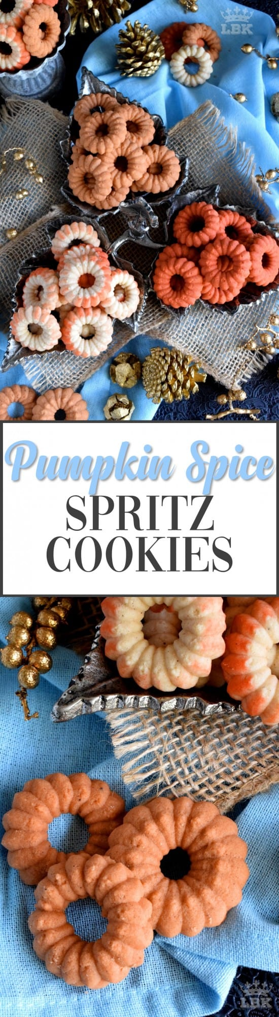 Pumpkin Spice Spritz Cookies - Spritz cookies are a classic and will bring a smile to everyone's face - especially if that cookie is flavoured with pumpkin spice and looks this pretty!#pumpkinspice #pumpkin #cookies #spritz #press #orange #thanksgiving