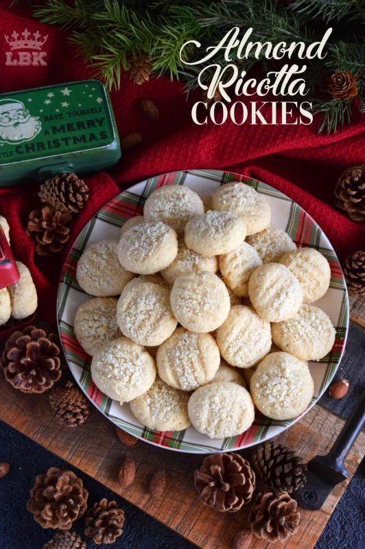 Almond Ricotta Cookies - Ricotta cheese is baked into these Almond Ricotta Cookies, which will help keep the cookies soft and fresh for all of your holiday visitors! #Italian #cookies #christmas #holiday #almond #ricotta #cheese #baking