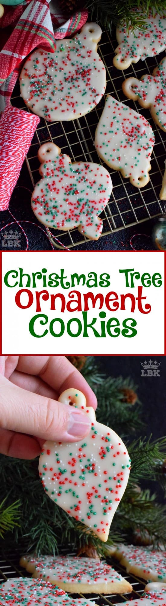 Christmas Tree Ornament Cookies - These Christmas Tree Ornament Cookies are adorably cute as a decoration on a tree, but even better packaged for friends and neighbours! #christmas #tree #ornament #homemade #baked #edible #cookies #holiday #baking