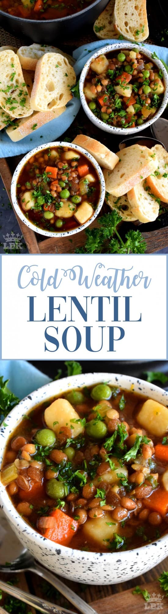 Cold Weather Lentil Soup - Finally a bowl of lentil soup with a nice thin broth, yet one that's hearty and filling enough to fight the cold weather chills!#soup #cold #weather #vegetarian #lentil #broth