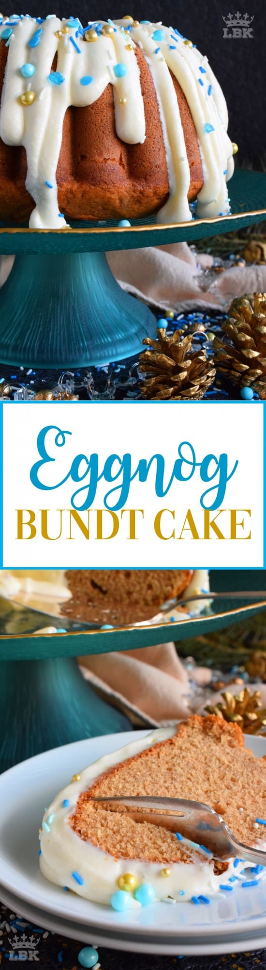 Eggnog Bundt Cake - If you don't care to drink eggnog, why not bake with it? This Eggnog Bundt Cake is very moist and is perfect for the holidays! #eggnog #bundt #cake #bundtbakers #christmas #holiday