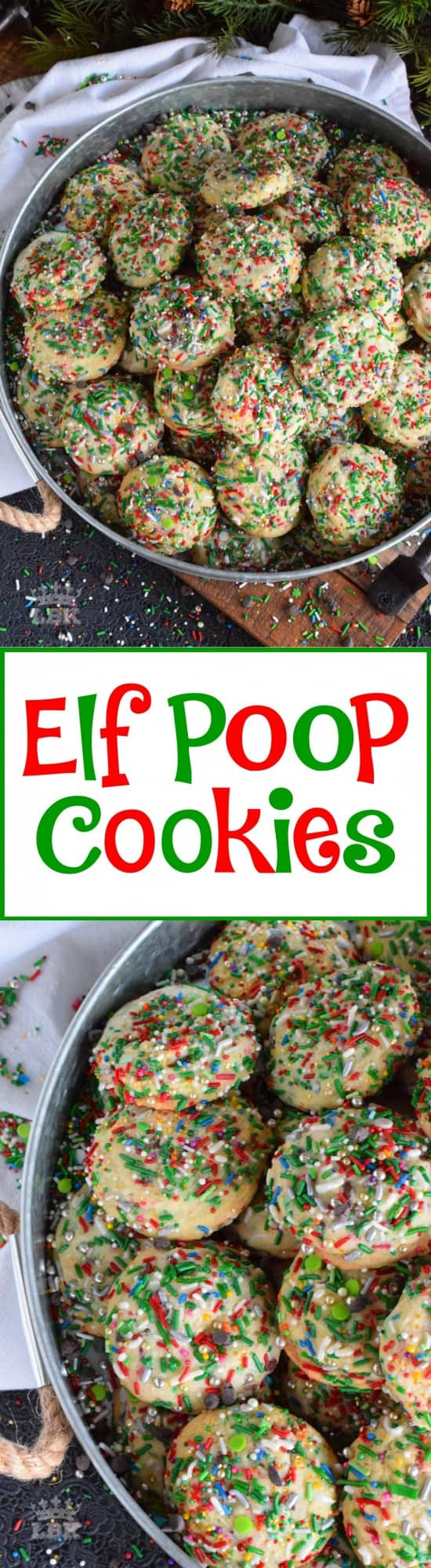 Elf Poop Cookies - Much like Buddy, these Elf Poop Cookies are peppermint flavoured and packed with sprinkles, chocolate, and of course, sugar!  #elf #cookies #sprinkle #poop #christmas #holiday #baking