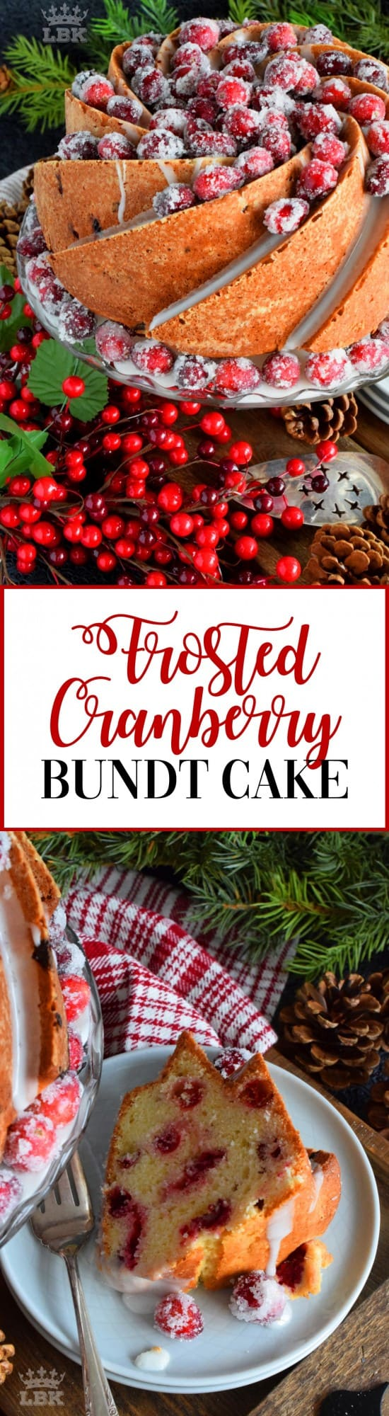 Frosted Cranberry Bundt Cake - This bundt cake is loaded with whole, fresh cranberries and frosted with a simple icing. Tart, sweet, and perfect for any holiday table! #frosted #fresh #cranberries #cake #bundt #bundtbakers #christmas #holiday