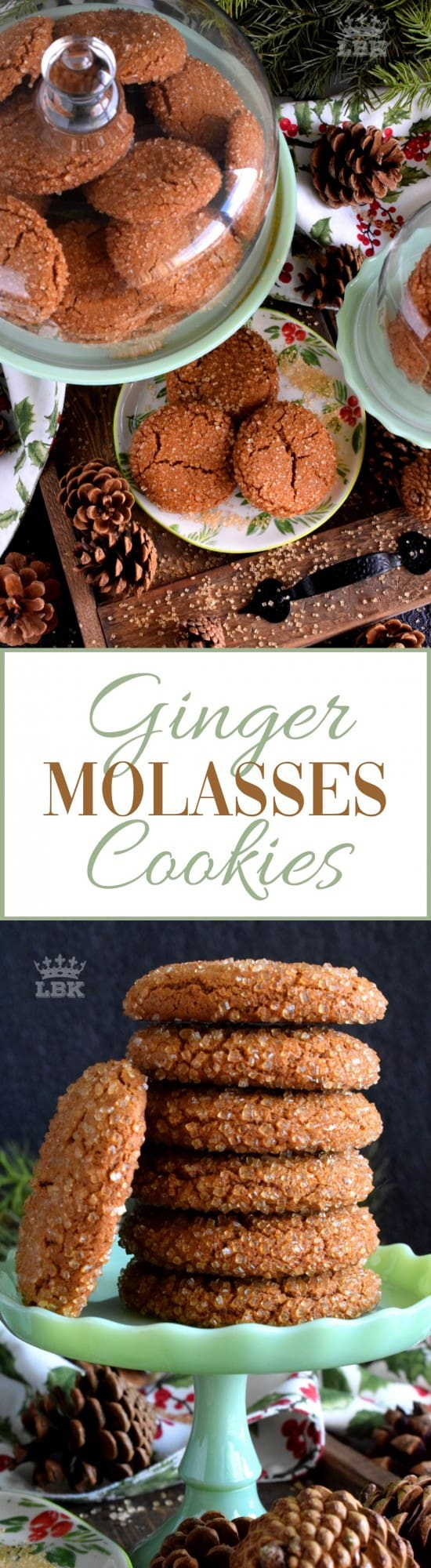 Ginger Molasses Cookies - These Ginger Molasses Cookies are made with classic Christmas ingredients that flood the senses with thoughts and memories of home. #ginger #molasses #cookies #christmas #traditional #holiday #oldfashioned
