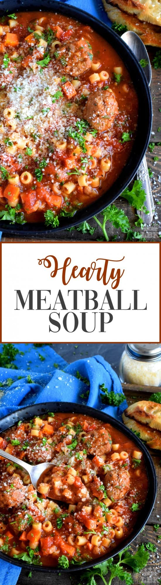 Hearty Meatball Soup - Hearty Meatball Soup is a soup that tastes like a big bowl of homemade pasta and meatballs, but more comforting and warming!#soup #stew #pasta #meatballs #homemade