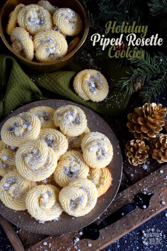 Holiday Piped Rosette Cookies - There's no skill needed to make these gorgeous Holiday Piped Rosette Cookies; they're very impressive, but they're also very easy! #rosette #piped #cookies #christmas #holiday #baking