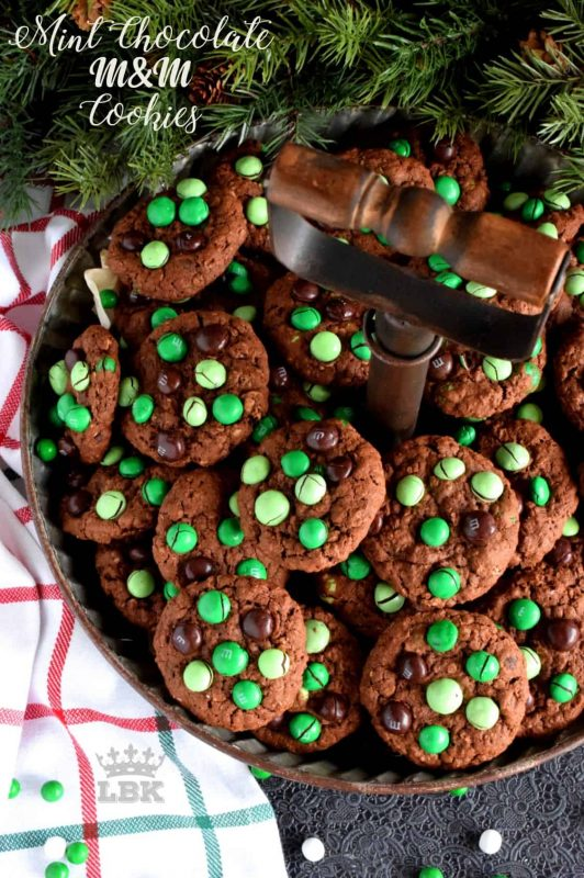 Mint Chocolate M&M Cookies are meant for the serious mint and chocolate lover. Loaded with mint m&ms, and packed with cocoa, these cookies are super moist and chewy!#M&M #mint #cookies #christmas #holiday #baking