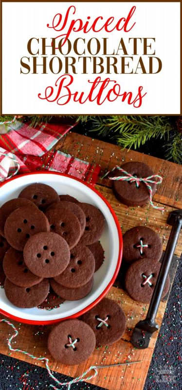Spiced Chocolate Shortbread Buttons - Chocolate that has been spiced with the heat of chilies is a popular confection, which makes these shortbread buttons a must have! #chocolate #shortbread #cookies #Mexican #spicy #spiced #christmas #holiday #baking