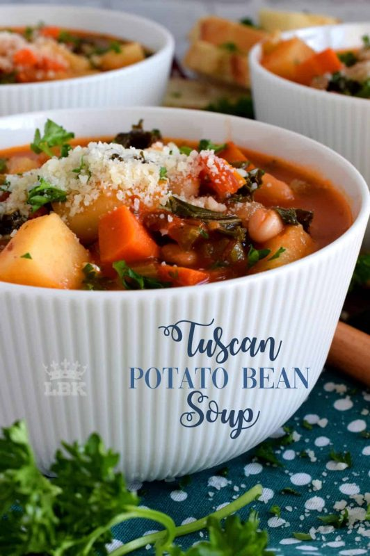 Tuscan Potato Bean Soup is one of those meals that you enjoy so much, you completely forget that it is healthy and good for you!#soup #vegetarian #tuscan #bean