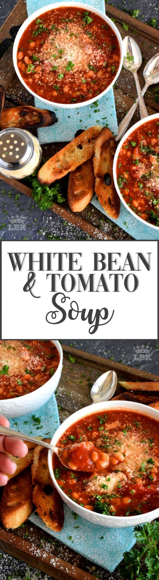 White Bean and Tomato Soup - Tomato soup is a classic and a family favourite, but this version adds more flavour and more heartiness with white beans and cheese!#tomato #soup #recipe #canned #beans #parmesan #homemade