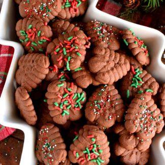 Christmas Chocolate Spritz Cookies