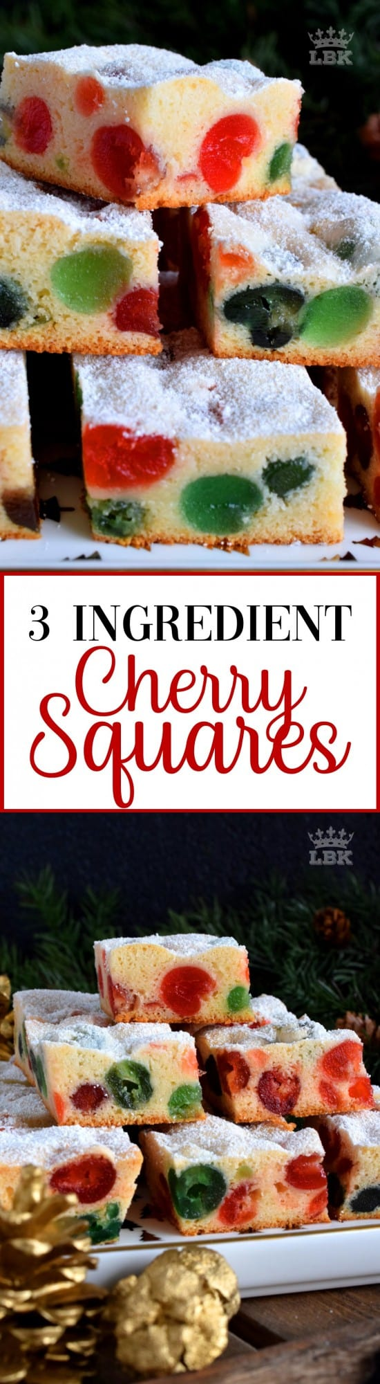 Sometimes are recipe needs to be quick and easy.  3 Ingredient Cherry Squares are just that, but they are also pretty to look at and delicious too!#3 #ingredient #squares #candied #cherries #christmas #holiday #baking