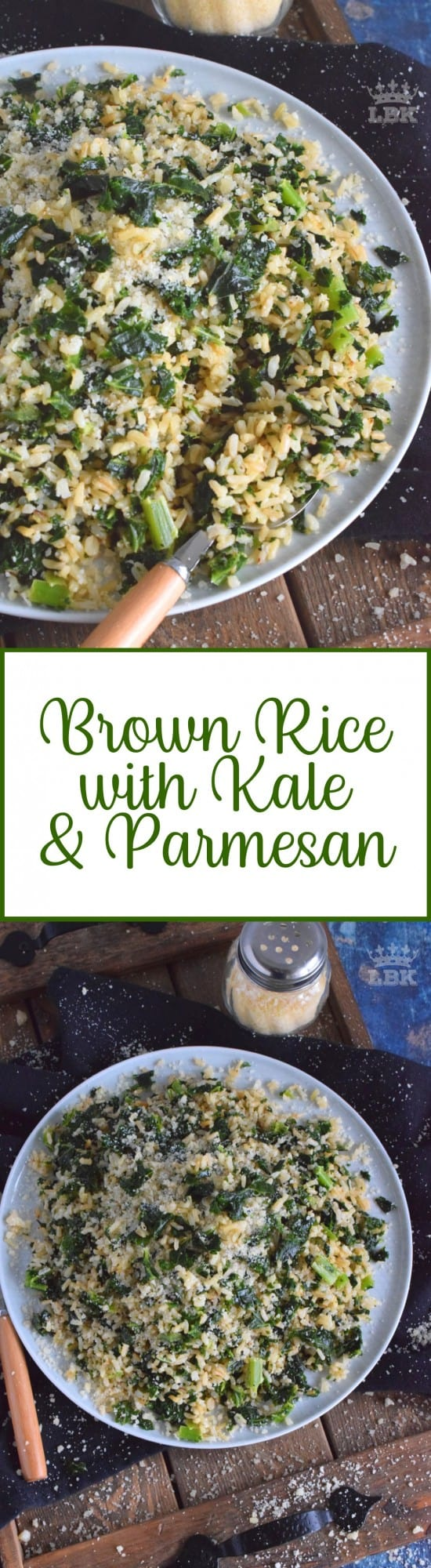 Brown Rice with Kale and Parmesan - A quick and healthy side dish using instant brown rice, frozen chopped kale, and fresh parmesan; reheat the next day for a great work lunch! #brown #rice #kale #side #easy