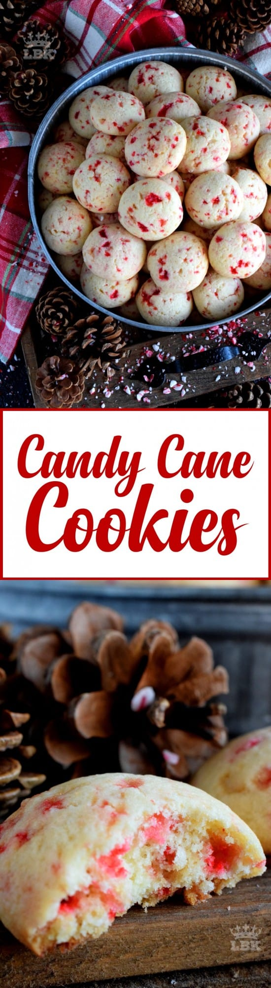 Candy Cane Cookies - Soft and fluffy, light and moist, Candy Cane Cookies are for the serious candy cane lover, complete with real crushed candy canes!#cookies #candycanes #candy #canes #holiday #christmas #baking