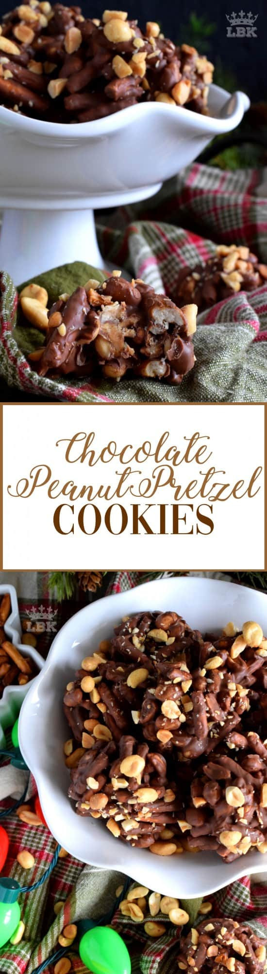 Pretzels love chocolate and chocolate loves peanuts, which is why these no bake Chocolate Pretzel Peanut Cookies is bound to be a holiday favourite! #pretzel #peanut #chocolate #cookies #christmas #holiday #nobake