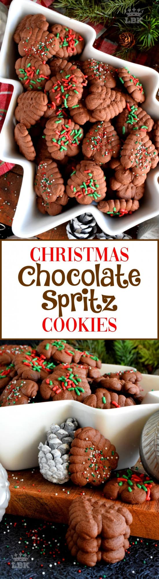 Christmas Chocolate Spritz Cookies - When it comes to baking with the purpose of gift giving, a Christmas cookie spritz is the best way to go, especially if they're chocolate! #spritz #cookies #press #holiday #christmas #chocolate #baking