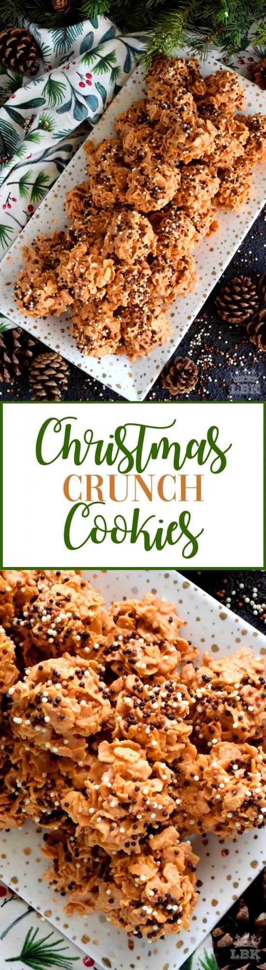 Christmas Crunch Cookies - So simple, so easy, and so delicious! Christmas Crunch Cookies are perfect for sharing and a great option for holiday cookie exchange parties! #christmas #holiday #cookies #treats #snacks #homemade