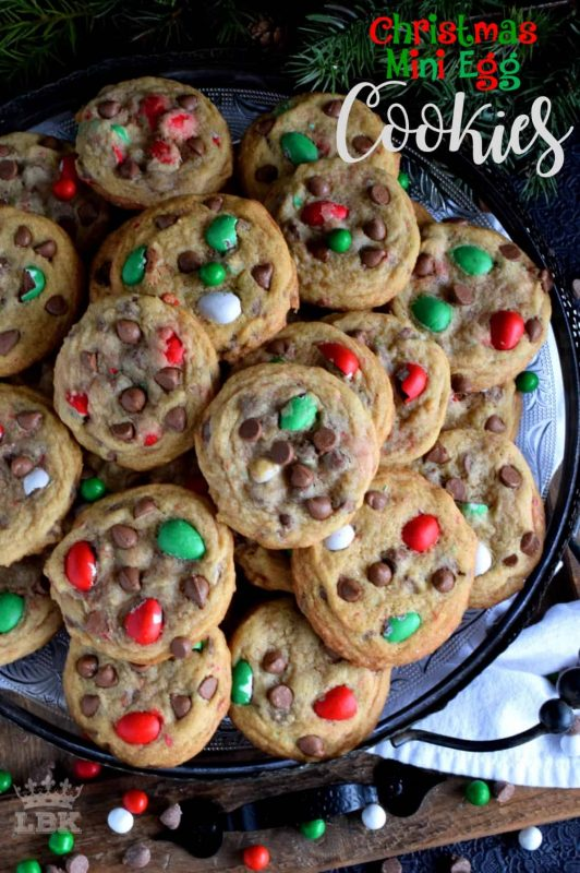 Christmas Mini Egg Cookies - This recipe upgrades a classic chocolate chip cookie with Christmas-themed mini eggs - festive, delicious, and addictive too!#cadbury #hershey #eggies #minieggs #christmas #holiday #baking
