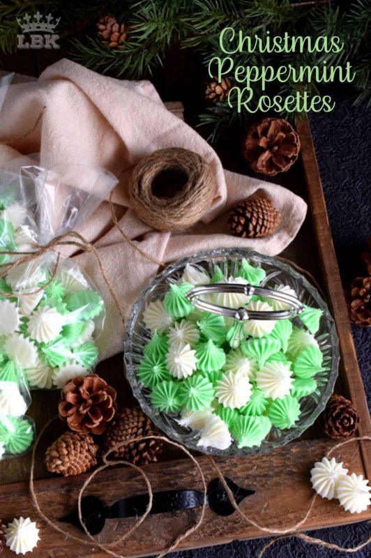 Christmas Peppermint Rosettes - Friends and neighbours would love a package of homemade Christmas Peppermint Rosettes; these make a lovely take-home goodie bag too! #homemade #peppermint #mints #christmas #holiday #candy