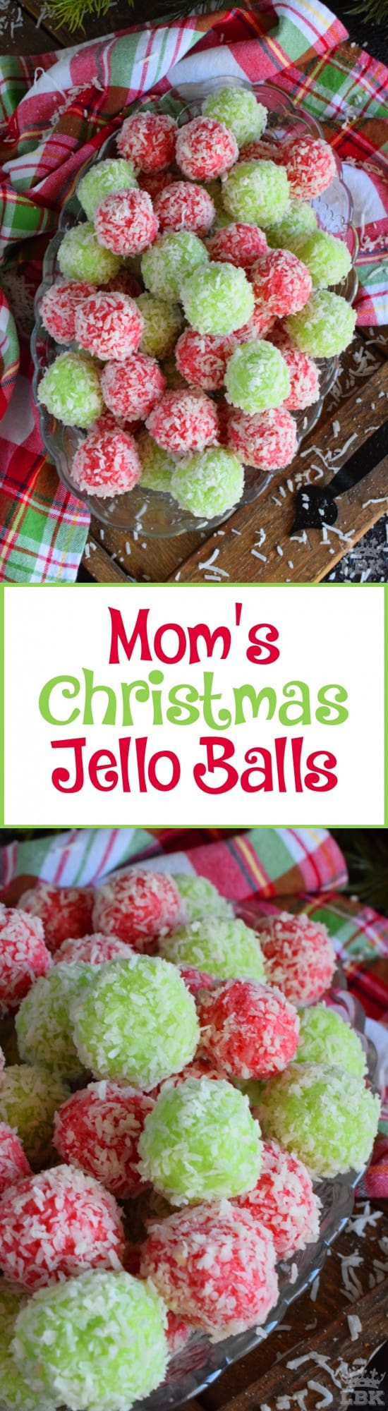 Mom's Christmas Jello Balls - No baking, no melting, and just one mixing bowl! Mom's Christmas Jello Balls are one of the easiest cookies you'll make this holiday season! #jello #coconut #balls #christmas #holiday #nobake #kids