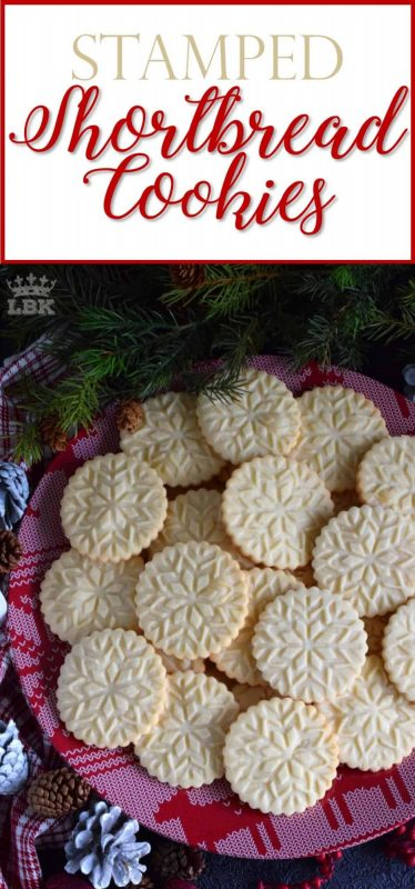 Stamped Shortbread Cookies - A perfect treat for anyone at anytime; Stamped Shortbread Cookies are buttery and delightfully bright and vibrant to match the holiday season! #shortbread #cookie #stamp #stamped #christmas #holiday #baking
