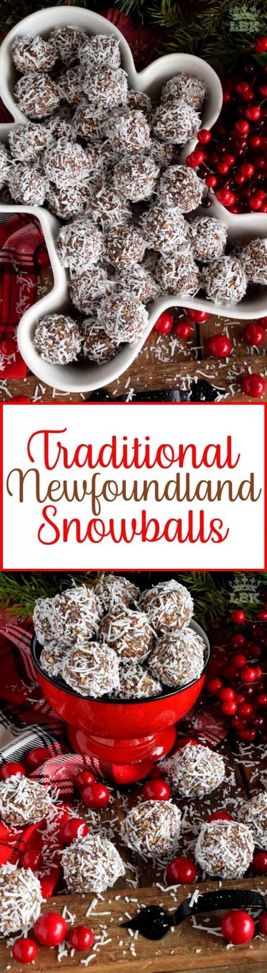 Traditional Newfoundland Snowballs - One of the most recognized confections in Newfoundland, these traditional snowballs are a no-bake version with lots of chocolate and coconut flavour!#chocolate #snowballs #traditional #newfoundland #christmas #holiday