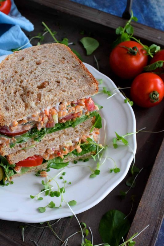 Smashed Lentil Salad Sandwiches