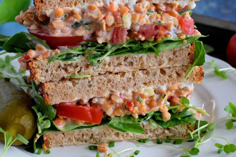 Smashed Lentil Salad Sandwiches