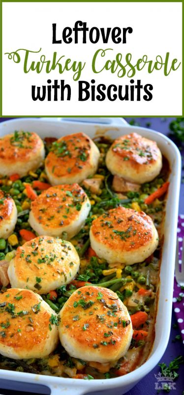 Leftover Turkey Casserole with Biscuits - A homey casserole was never this easy!  Use leftover turkey and store-bought biscuits to prepare this hearty dish the whole family will love!  #leftover #turkey #recipes #casserole #pillsbury